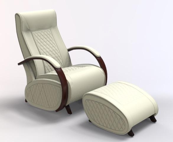 Fauteuil à bascule rocking chair + repose jambes Cristina 8