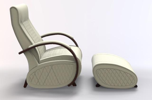 Fauteuil à bascule rocking chair + repose jambes Cristina 3